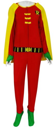 Robin Hooded Fleece Onesie Footie Pajama With Cape For Men (Medium) front-926838