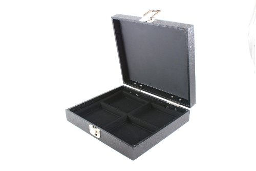 Display Case with Solid Lid & Clasp + Black 4 Compartment Insert