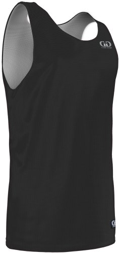 Mm993Y Youth Boy'S And Girl'S Tank Top Nylon Micromesh Reversible Sports Jersey (Medium, Black/White)