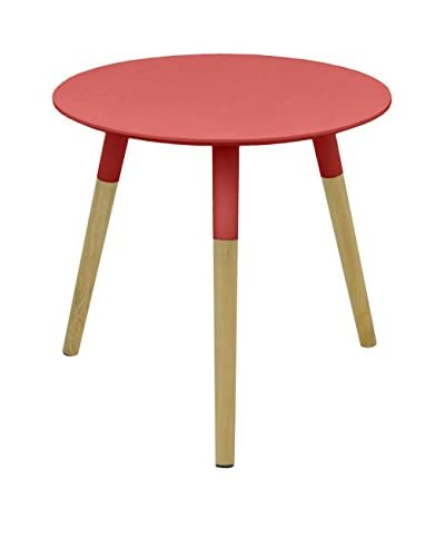 Three Hands Mid Century Dipped Wood Leg Side Table  [Red]