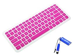 (HP-026) Silicone Keyboard Protector Cover Skin for HP Pavilion G4, G6, Presario CQ43, DV4, ENVY 4-1007tx, HP2000 US version Laptop (Semi-Transparent Hot Pink)