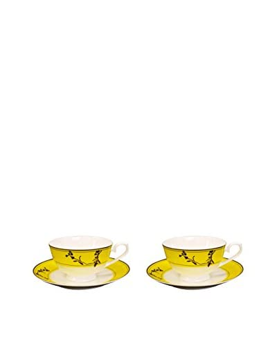 Auratic 4-Piece Tea Set, Yellow/Birds