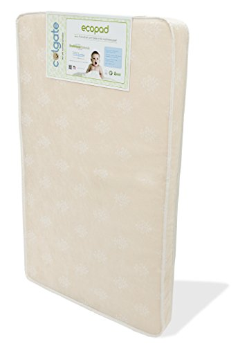 "Colgate EcoPad - 3"" Eco-Friendly Portable Crib and Mini-Crib Mattress with Damask Cloth Waterproof Cover, Natural"