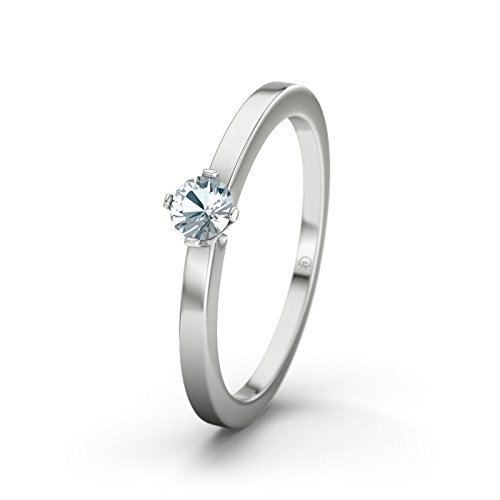 21DIAMONDS Women's Ring Detroit Aquamarine Brilliant Cut 9Ct White Gold Engagement Ring