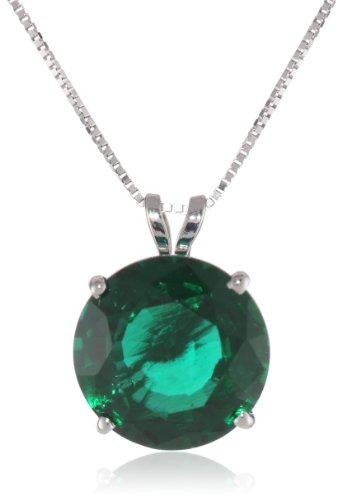 14k White Gold 10mm Round Gemstone Pendant Necklace