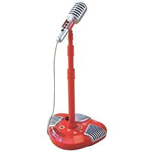 Red Music Pop Star Singalong Microphone: Musical Party Stage Microphone Stand for the Little Idol