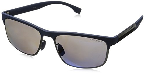 BOSS-by-Hugo-Boss-Mens-B0835s-Rectangular-Sunglasses-Blue-Carbon-BlueGray-Mirror-Blue-Polarized-58-mm