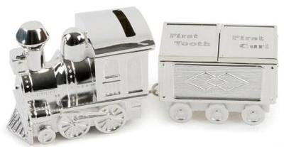 Silver Plated Train Money Box/First Tooth/First Curl/Bn