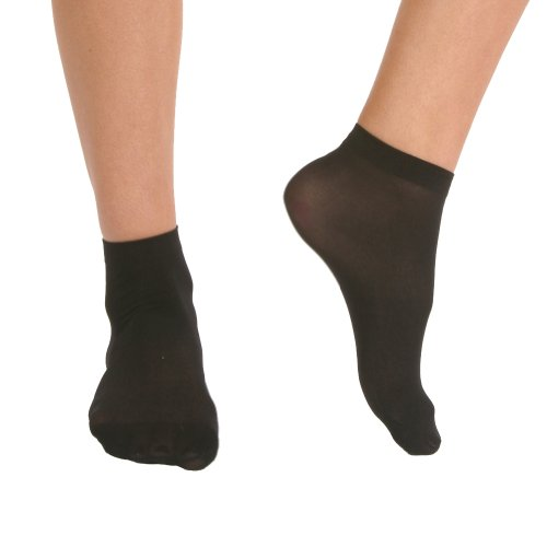 Angelina 40D Nylon Ankle Socks, 6 Pairs per Pack