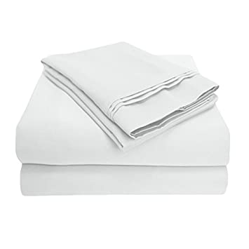 Impressions 1000 Thread Count Premium Egyptian Cotton, Queen Bed Sheet Set, Single Ply, Solid, White
