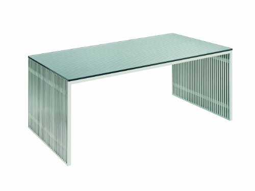 Amici Desk Stainless Steel and Glass by Nuevo - HGDJ197 (Computer Desk Stainless Steel compare prices)