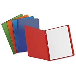 Report Cover, 3 Fasteners, Panel and Border Cover, Assorted Colors, 25/Box, Sold as 2 Box, 25 Each per Box