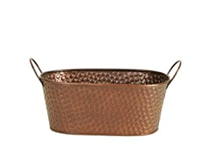 Wald Imports 9-Inch Oval Hammered Metal Planter