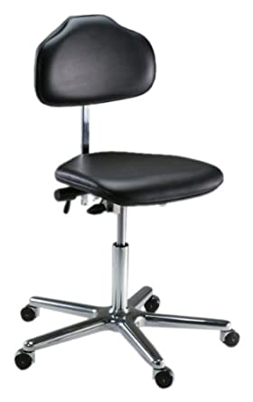 "Milagon Stera WS1720 Workseat on Polished Star Base Clean Room Chair with Self-Breaking Conductive Casters, ESD Low Profile, 17""-24"" Adjustment Height"