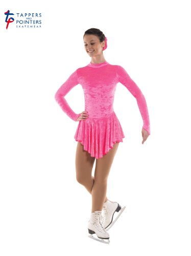 Tappers & Pointers Girls Crushed Velvet Ice Skating Dress (FLO PINK, 9-10 YEARS)