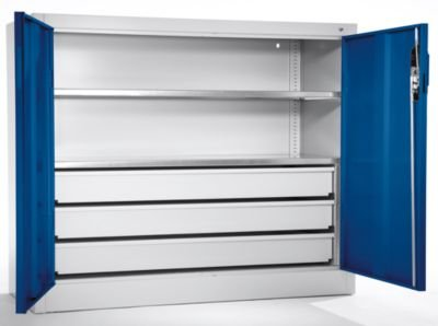 CP-Groraumschrank-Beistellschrank-2-Fachbden-3-Schubladen-Tiefe-500-mm-Tre-enzianblau-Flgeltrschrank-Groraum-Schrank-Groraum-Schrnke-Groraumschrank-Kleiderschrank-Lagerschrank-Materialschrank-Stahlsch