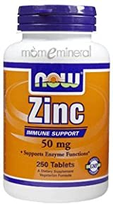 Zinc 50 mg 250 Tablets by NOW Foods