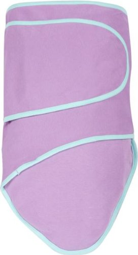 Miracle Blanket Baby Swaddle Blanket, Purple with Mint Trim