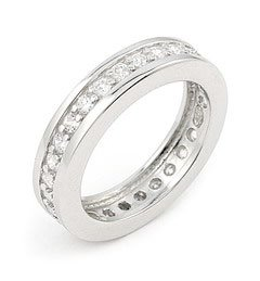 Exquisite Sterling Silver Eternity Ring With Cubic Zirconia - RingSize 6