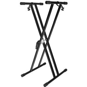 NEW 2012 IMPROVED Heavy Duty & High Quality Double Braced Keyboard Stand with Quick Release Handle Mechanism & Straps to secure keyboard to the stand - [[ NEW IMPROVED DESIGN ]] -Padded Keyboard Supports & Height Adjustable + FREE 2 YEAR WARRANTY