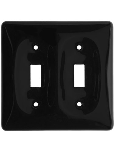 Black Porcelain Double Toggle Switch Plate. Light And Electric Covers.