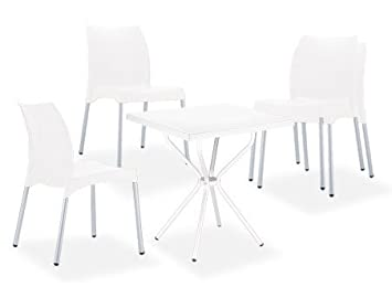 "CLP Set mobili da giardino RONDA, 4 sedie impilabili ""Vita""+ 1 tavolo quadratpo 70 x 70 cm - leggeri stabili e resistenti alle interperie bianco"