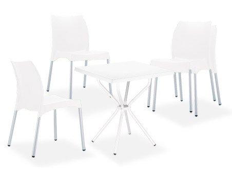 CLP Garten Sitzgruppe RONDA, 4 stapelbare Gartenstühle Vita + 1 quadratischer Gartentisch 70 x 70 cm - leicht, stabil & wetterfest weiß