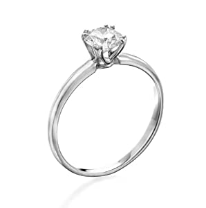 Diamond Engagement Ring in 14K Gold / White GIA Certified, Round, 0.31 Carat, F Color, SI1 Clarity