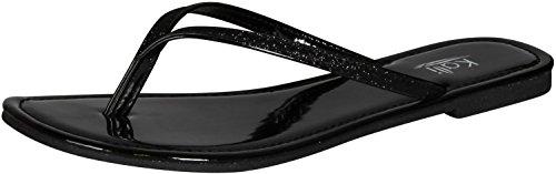 Kali Footwear Womens Focus Glitter Flip Flops, Black 9