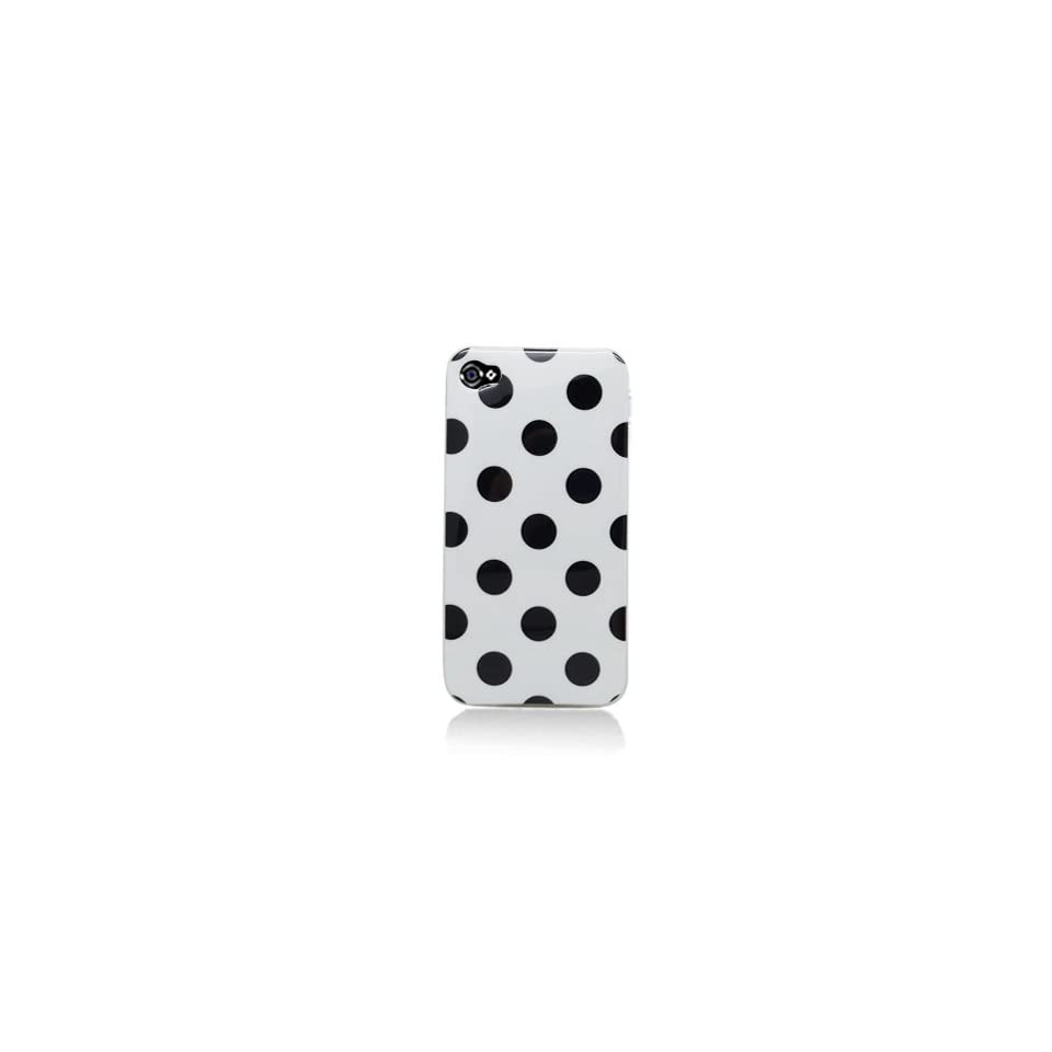 TPU iPhone 4S Candy Skin Cover Case Polka Dots Black White 4S/4 Verizon/AT&T/Sprint  AI Retail Packaging