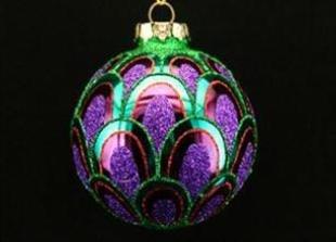 Gisela Graham - 6 x Shiny Peacock Feather Scalloped Balls Christmas Tree Decorations