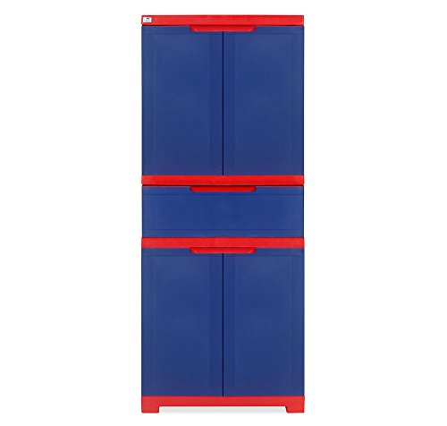 @home by Nilkamal Freedom Cabinet with 1 Drawer (Pepsi Blue and Bright Red)