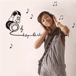 Fashion Music Headset Studio With Music Note Plane Wall Decal Stickers