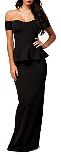 Made2Envy Drop Shoulder Peplum Maxi Evening Dress (L, Black)