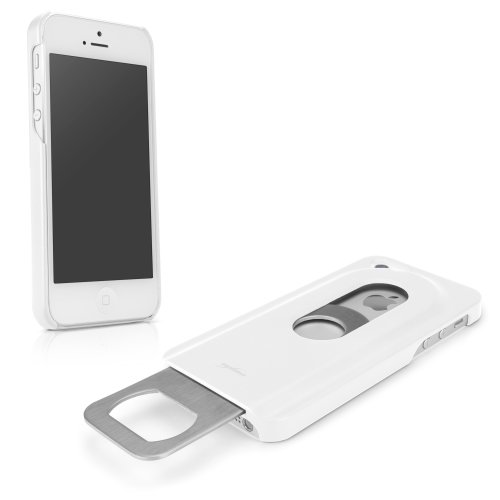iPhone SE Case, BoxWave® [DrinkMate Case with BONUS Keychain Charger] Novelty Phone Cover with Retractable Bottle Opener for Apple iPhone SE, 5s, 5 - Winter White