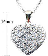 Crystal Hearts Pendant with Silver link chain - The pendant & chain are pure silver- sterling silver 925. Absolute bling bling!! By GlitZ JewelZ ©