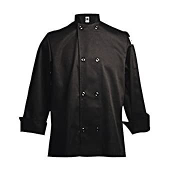 Chef Revival J061 24/7 Poly Cotton Blend Long Sleeve Unisex Cool Crew Jacket with Black Pearl Bottons, Small, Black