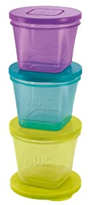 NUK 10255183 Fresh Foods - Set de 6 recipientes para alimentos de bebé (3 tamaños) marca NUK
