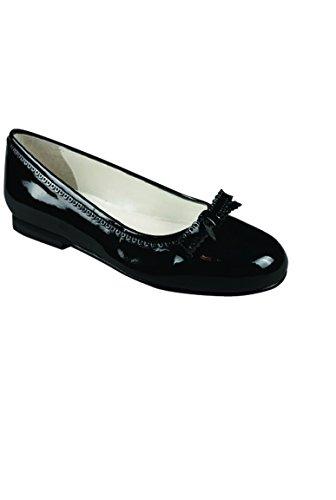 matrimonio nodo pattino nero smalto ragazza modelli in pelle ballerina - nero lucido - P-37