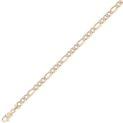 9Ct Gold 3 + 1 Figaro Chain 16 inch/5.5mm