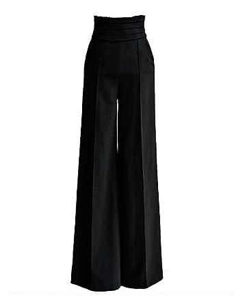 PrettyGuide Women Vintage Office Career Slim High Waist Flare Wide Leg Long Pants Trousers (M/UK 6)
