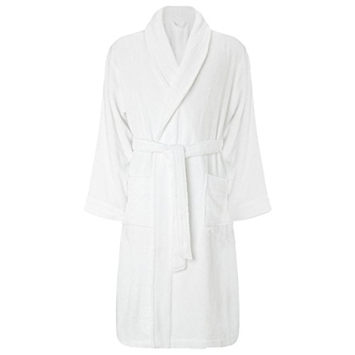 My Shoe Store® 100% LUXURY EGYPTIAN COTTON SUPER SOFT TOWELLING BATH ROBE DRESSING GOWN TERRY TOWEL (L / XL ( Large / Extra Large ), White)