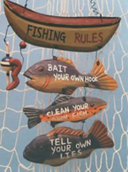 Wood Fishing Rules Sign - Fish Boat Nautical Decor New Approximately 8