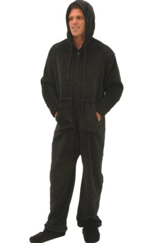 Details for Del Rossa Men's Fleece Hooded Footed One Piece Onsie Pajamas