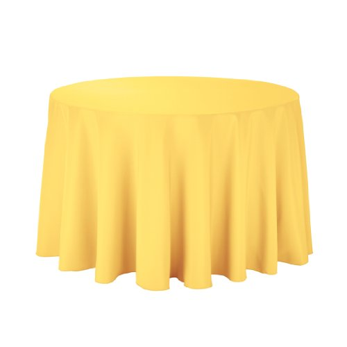 Linentablecloth Round Polyester Tablecloth, 108-Inch, Gold front-292477