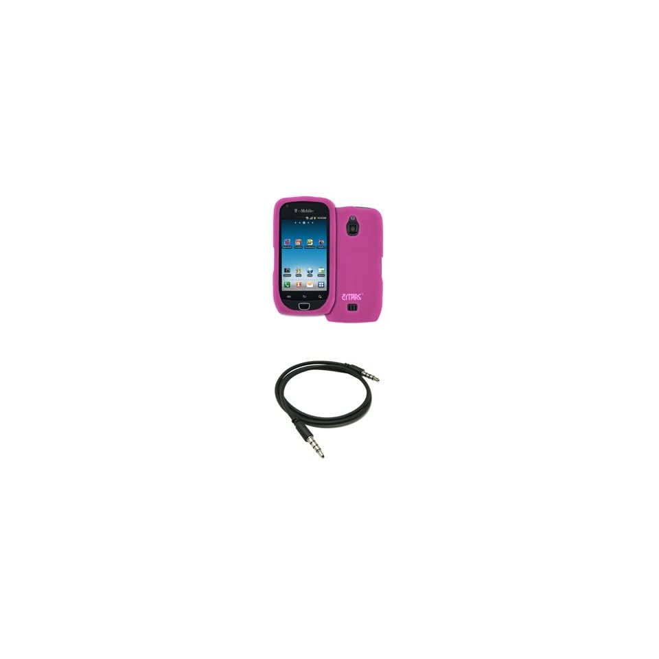 EMPIRE Hot Pink Silicone Skin Case Cover + 3.5mm Male to Male 20 36 Stereo Auxiliary Cable for T Mobile Samsung Exhibit 4G