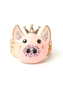 pig ring size 6 pink farm animal