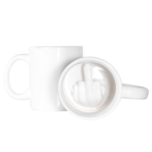GetTen New Creative Personality Cute Middle Finger Up Drinkware Mugs Ceramic Coffee Milk Tea Water Cup with Handgrip White Fashion Mug Gift (Finger Coffee Cup compare prices)