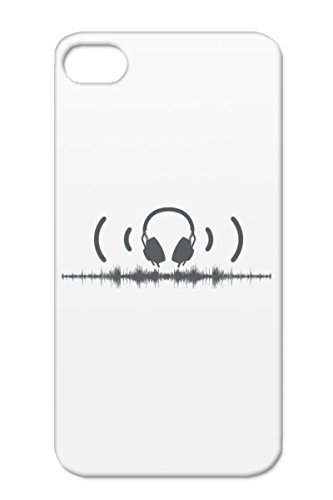 Electronic Music Apparel Audio Headphones Tshirt Music Band T Shirt Headphone Tshirts Stores Shirts Good Dj Miscellaneous Beat Dj Djs Beat Gray Headphones With Soundwaves And Audio In Grey Case For Iphone 4