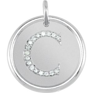 14K White Gold C Polished Posh Mommy Mother'S Mom® Initial Roxy Pendant Jewelry With Diamonds front-180951